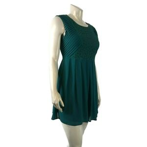 Womenx ESLEY Large Green Cotton Blend Lined Dress
